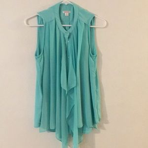 Xhilaration BEAUTIFUL Ruffled Teal Top Sz M